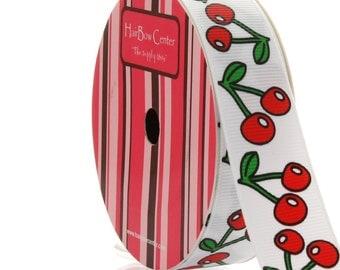 """7/8"""" White Cherry Grosgrain Ribbon - 5yds"""