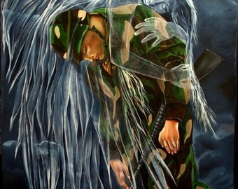 In Heavens Arms, oil painting 36x48, angel holding solder,wall art, spiritual art, home decor