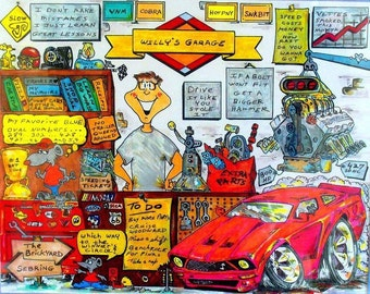 CAR ENTHUSIAST 8x10 (With THEIR Car) Personalized Cartoon