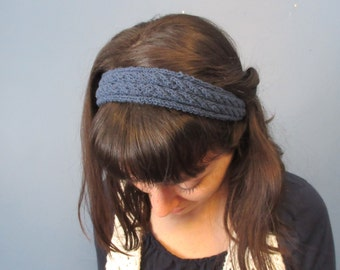 Navy Cable-Knit Headband