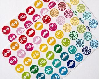 96 workout sticker, gym stickers, fitness stickers, planner stickers, bike run exercise stickers dumbbell eclp filofax happy planner kikkik