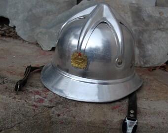 Vintage 1970's Yugoslvian Silver Aluminum Fire Helmet Fireman Hat *Rare*Steampunk*