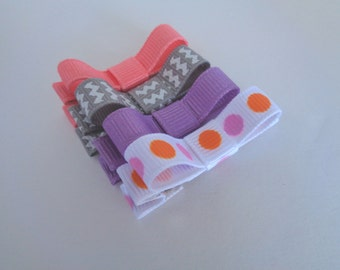 Baby Hair Bow Clips - Pink, Purple, Gray Set - Toddler Bows