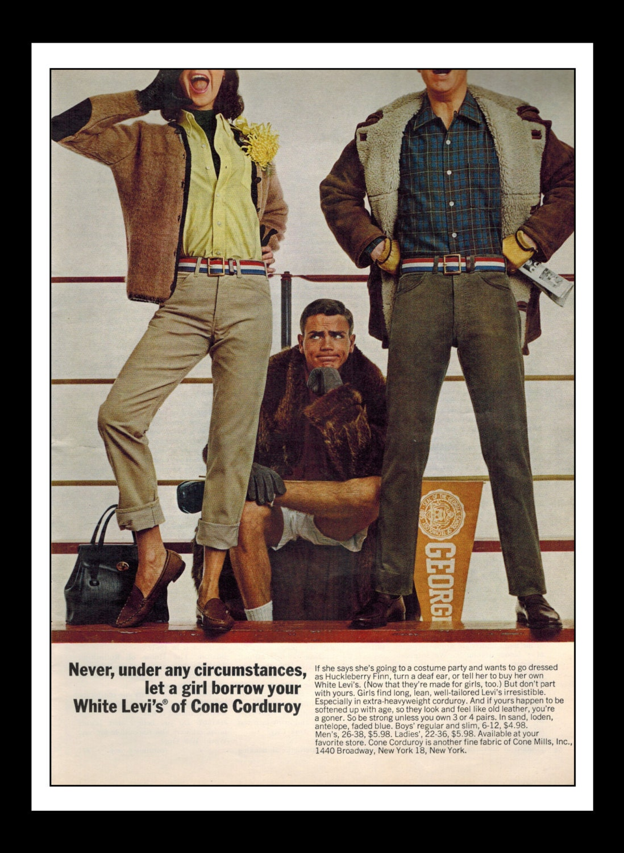 Vintage Print Ad August 1965 : Levi's Jeans Wall Art Decor