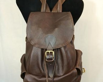 Handmade Leather Flap-Top Carry-All Pack