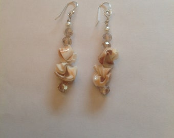 Unique Shell & Crystal Earrings