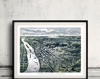 Bird's eye view of Saint Paul - Minnesota - 1893 - SKU 0225