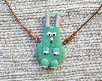 Cute Bunny mint pendant, Polymer clay jewelry, Rabbit bunny necklace FREE SHIPPING