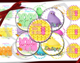 Peeps Easter Bunnies and Chicks images for bottle caps ,bows, magnets, pendants.  1 inch round circles