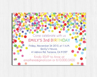 Confetti Birthday Invitation, Printable birthday invitation, Children Birthday Party invitation, bright invite, Children party invitation