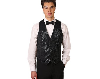 Men's black sequins vest