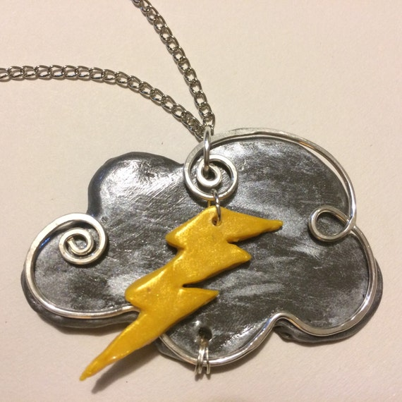 Storm Cloud Necklace Pendant Necklace Lightning Bolt By