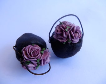 One Pair miniature Fairy pots dusky pink roses