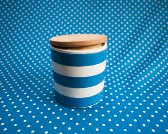 Cornish Ware style storage jar and lid.