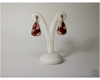 enamel earrings, purse-seine and pressures 925 Silver