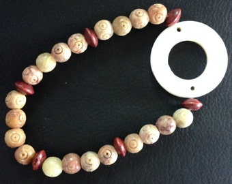 Stretch Soapstone and Wood Bead Anklet with Shell Focal
