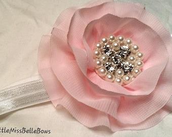 Pink Flower Headband, Baby Girls Flower Headband, Headbands for Wedding, Birthday Headband, First photo headband, Newborn Headband