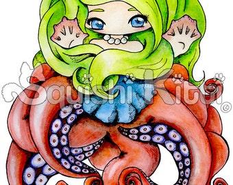 Cute Original Anime/Manga Chibi Drawing Octopus Girl
