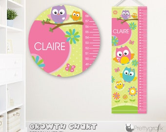 SALE Cute owls Growth Chart, personalized Growth Chart,Kids Room decor, custom wall hanging, custom Growth Chart for children - GC109