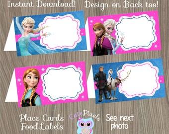 Frozen Place Cards, Frozen Food Labels, Frozen Tent Cards, Frozen Birthday, Disney Frozen, Frozen Party, Frozen Party Décor