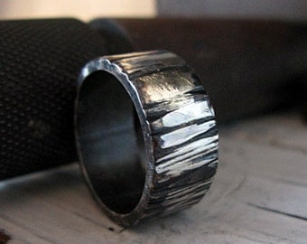 Mens Wedding Band Oxidized Sterling Silver Gold Mens Wedding Ring Bark Ring Unique Wedding Ring Silve Bark Ring 10mm Artisan Commitment Ring