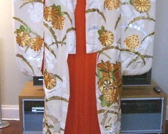 Vintage Japanese White Silk Ceremonial Kimono Circa 1950s