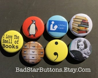 Book Lovers Reading Library Author Novel I Love Reading Button Set
