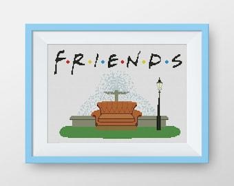 BUY 2, GET 1 FREE! Friends cross stitch pattern, pdf counted cross stitch pattern, Friends Sofa stitch pattern, Friends tv, #P076