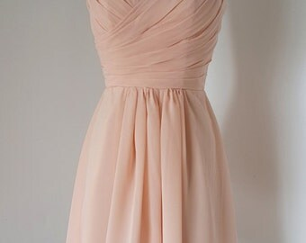 2015 Sweetheart Light Peach Chiffon Short Bridesmaid Dress