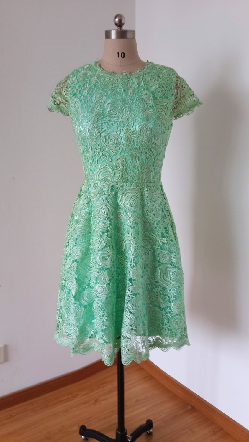 Mint lace bridesmaid dresses with sleeves