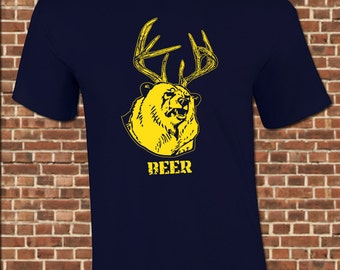 BEER DEER mens T-Shirt all sizes available funny bear big game hunter hunting drinking camo party gear vintage tee UG501