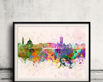Cardiff skyline in watercolor background 8x10 in to 12x16 Poster Digital Wall art Illustration Print Art Decorative  - SKU 0172