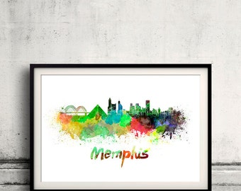 Memphis skyline in watercolor over white background with name of city 8x10 in. to 12x16 in. Poster Wall art Illustration Print  - SKU 0221