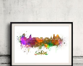 Sofia skyline in watercolor over white background with name of city 8x10 in. to 12x16 in. Poster Wall art Illustration Print  - SKU 0337