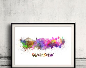 Warsaw skyline in watercolor over white background with name of city 8x10 in. to 12x16 in. Poster Wall art Illustration Print  - SKU 0351