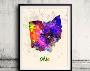 Ohio US State in watercolor background 8x10 in. to 12x16 in. Poster Digital Wall art Illustration Print Art Decorative  - SKU 0422