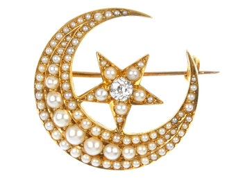 Victorian Diamond Pearl Brooch, Antique Pearl Diamond Crescent Star Brooch, In 15ct Yellow Gold, Crescent Brooch, Antique English