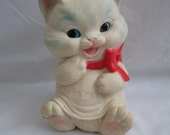 Reserved Pending Sale/ Vintage 1960's Ashland Rubber Toy Kitten with Red Bow 9 Inch Tall Squeaks