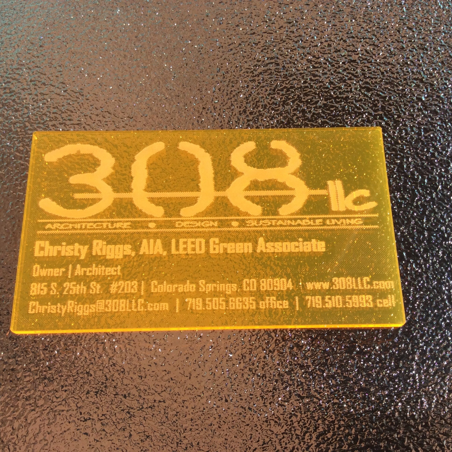 acrylic business cards custom laser engraved fluorescent