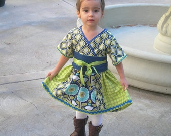 Kyoko style dress and/or top with Obi belt, girls size 2-7, 4 fabric choices