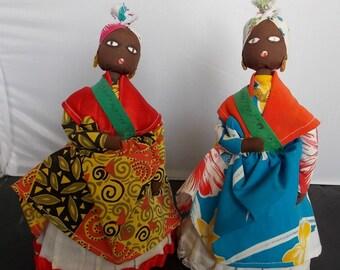 Primitive Folk Art Dolls Set of 2 Dominica Ethnic International.