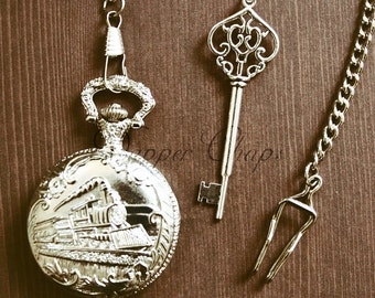 Vintage Inspired Men's Trainspotter's Pocket Watch with Train and Station Master's Key decoration