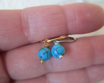 Howlite Turquoise 6mm Stone Cartilage Ear Piercing