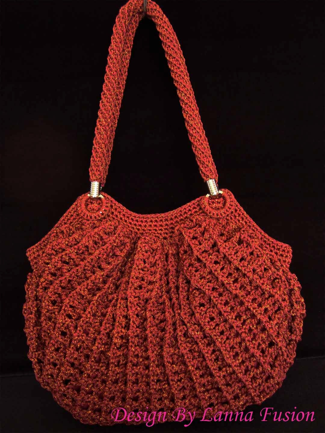 Cherry Red Crochet Handle bags Red Handbag Red Purse Red Tote