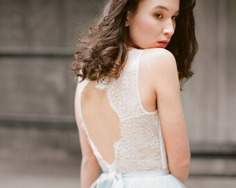 "Keyhole back bohemian wedding dress ""Hionia"" - Open back lace bridal gown, Mint wedding dress, Backless boho wedding dress, Milamira"