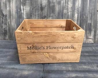 Personalised Large Rustic Wooden Apple Crate Storage Box