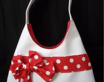 Polka Dot and White Handbag