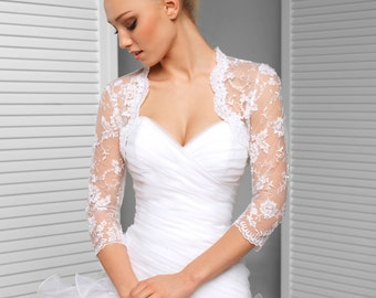 Lace Bridal Jacket - 3/4 Sleeve Lace Wedding Bolero