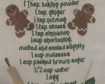 Tea Towel embroidery Gingerbread cookie recipe