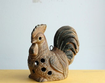 vintage rooster candle holder . stoneware rooster candleholder . vintage tea light / votive candle holder
